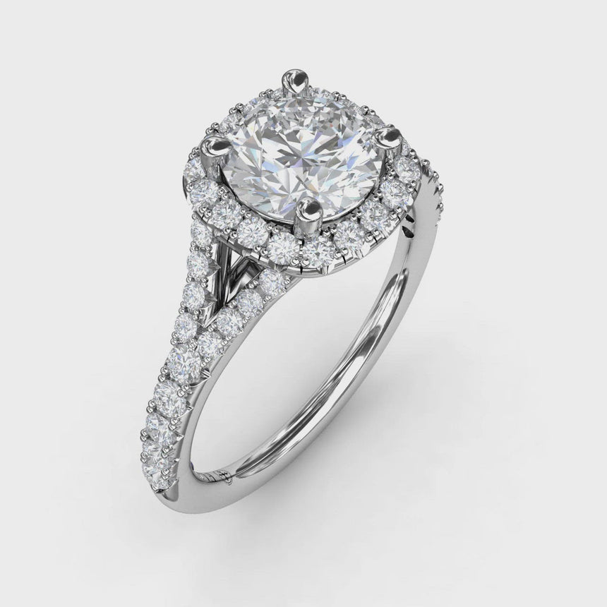 Classic Diamond Halo Engagement Ring with a Subtle Split Band 3844