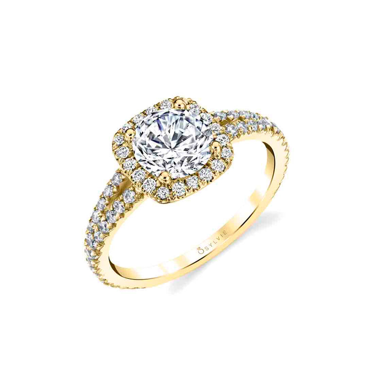 Cushion Halo Engagement Ring S2493 - RB-CH - Chalmers Jewelers