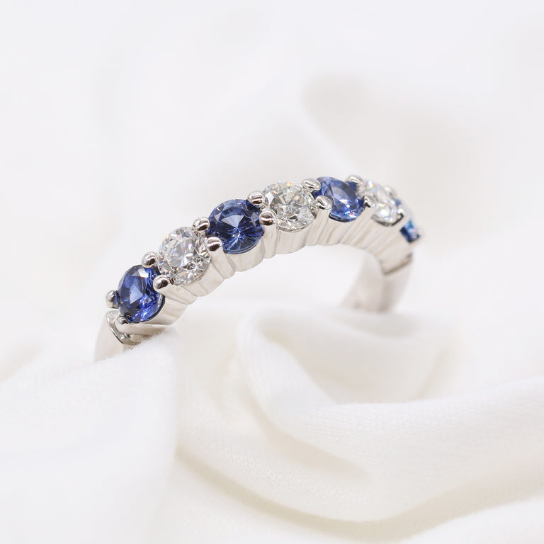 Custom Diamond and Blue Sapphire Alternate Ring