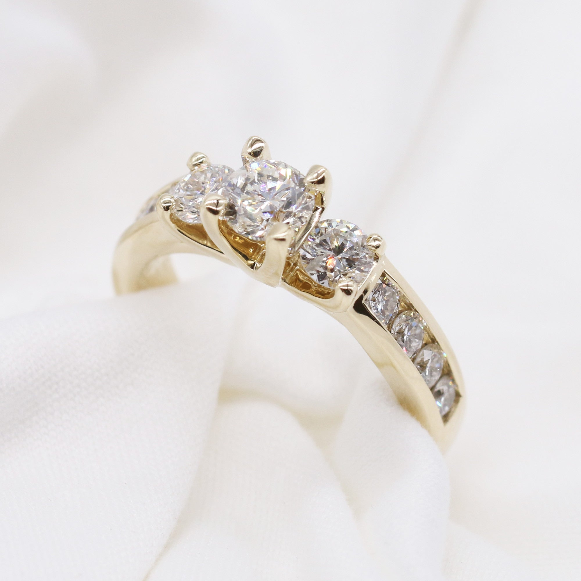 Custom 3 Stone Engagement Ring with Diamond Shank