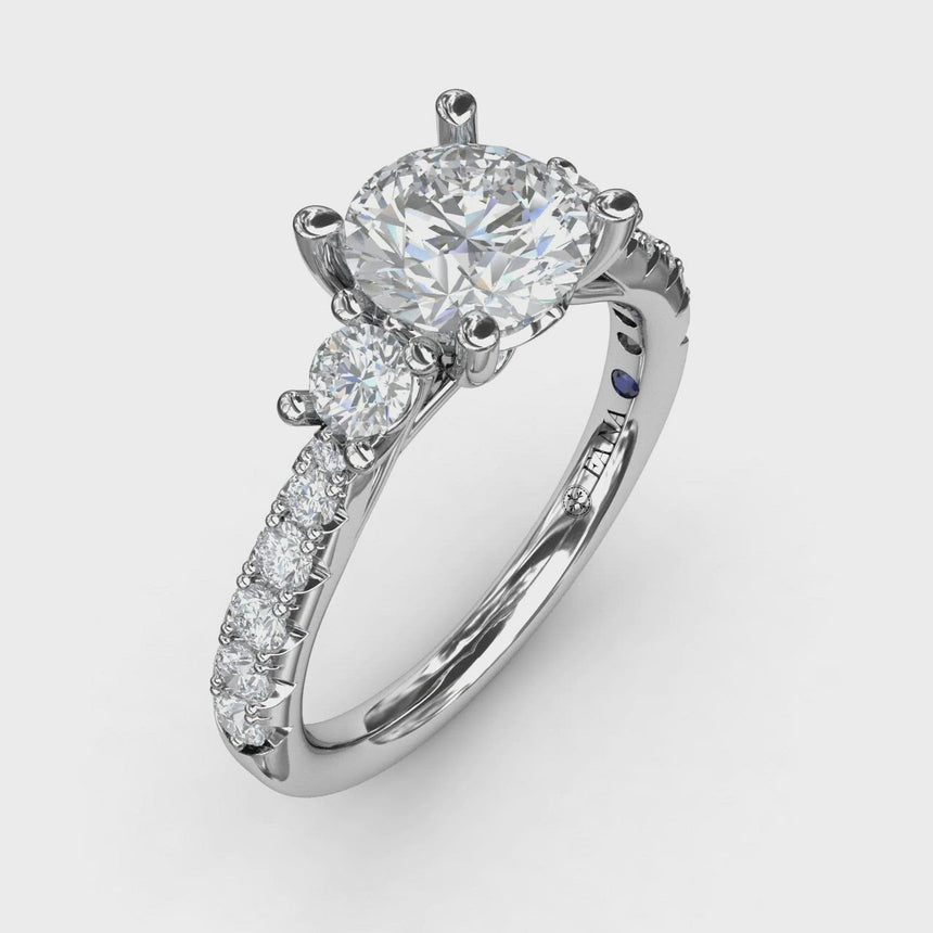 Three Stone With Pave Engagement Ring 3921