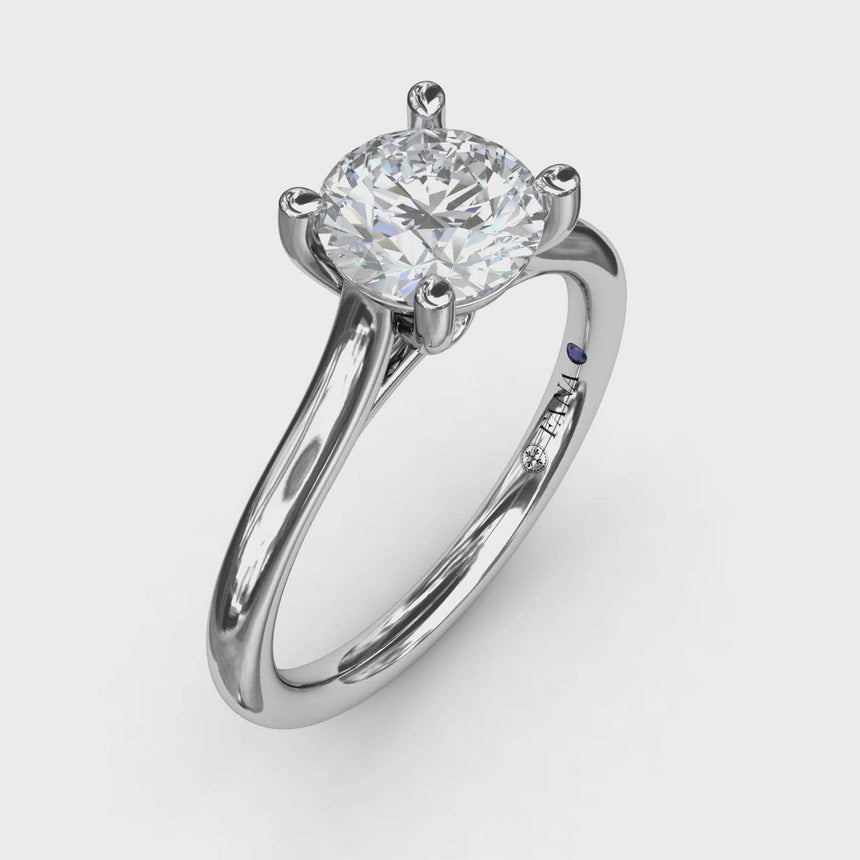 Round Solitaire With Cathedral Band Engagement Ring 3908
