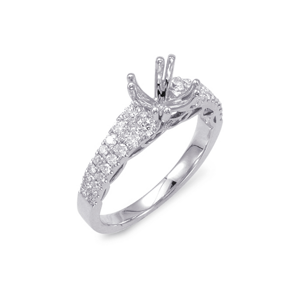 14kt White Gold Double Prong Engagement Ring