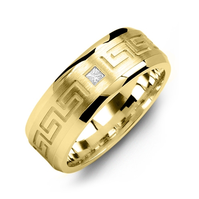 Wedding band with greek-inspired diamond inlay - metal options available