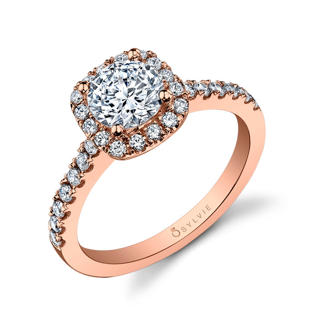 Cushion Halo Engagement Ring SY999 - RB-CH - Chalmers Jewelers