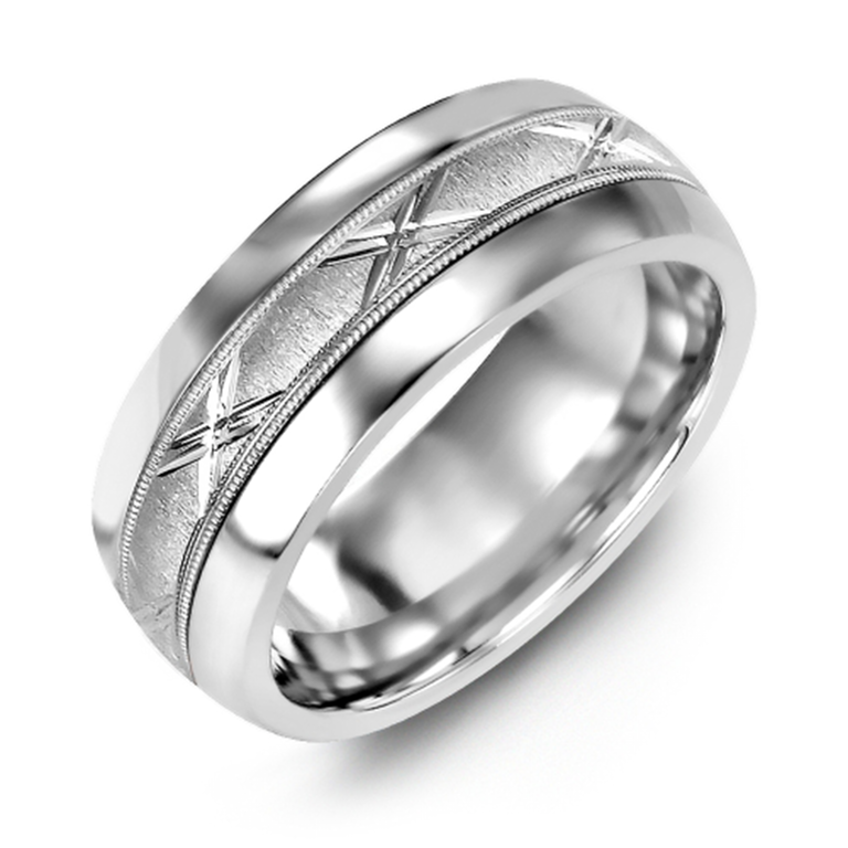 Brushed Metal Diamond Cut Wedding Band - Chalmers Jewelers