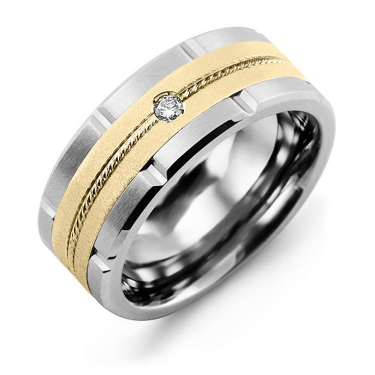 Satin Finish Rope Diamond Grooved Wedding Band - Chalmers Jewelers