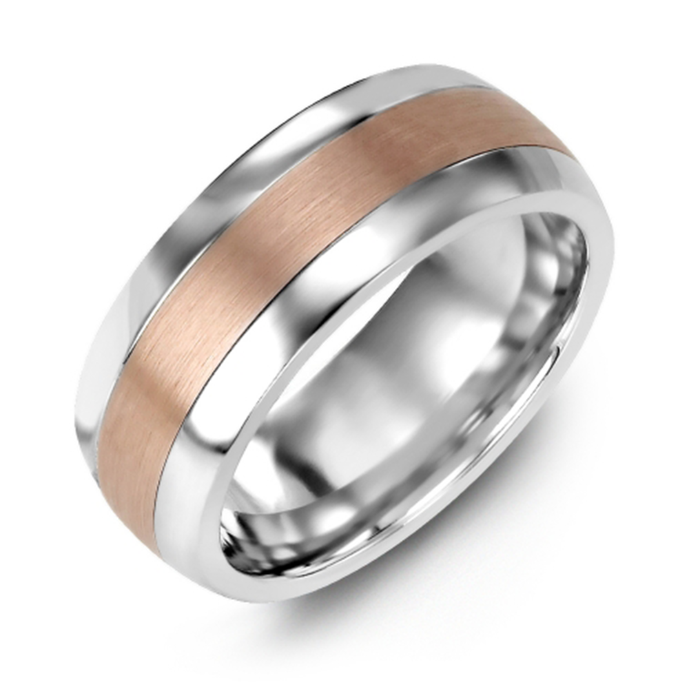 Brushed Metal Domed Wedding Band