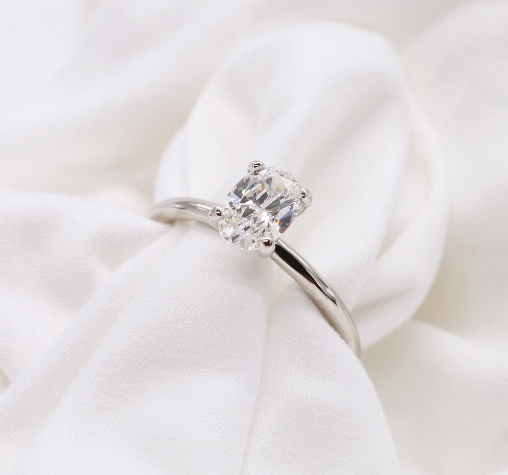 Custom 14kt White Gold Solitaire Oval Cut Diamond Ring