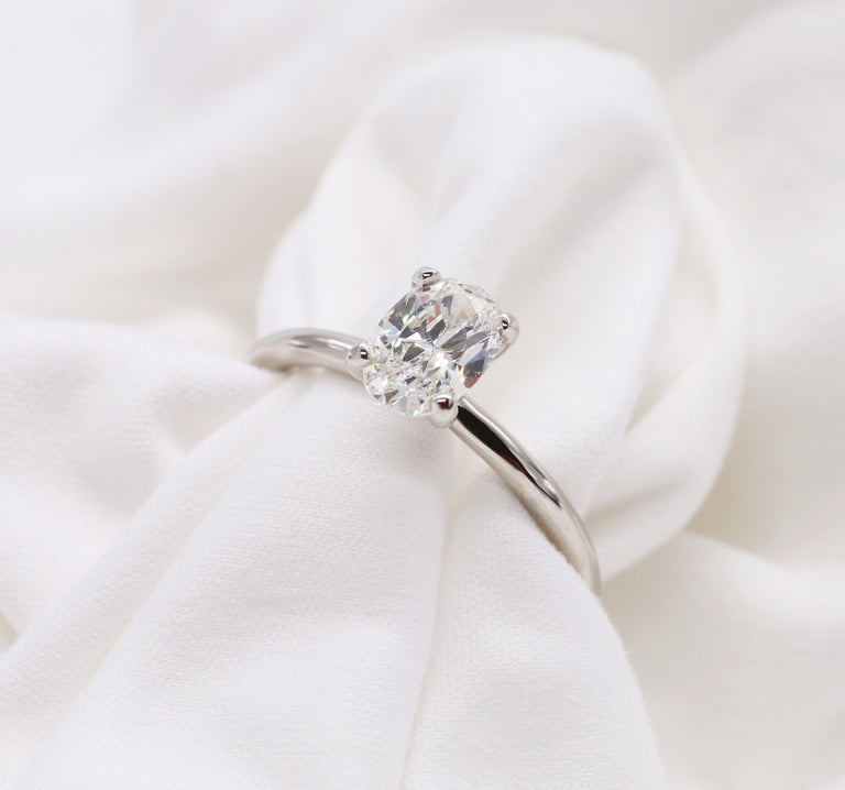 Custom 14kt White Gold Solitaire Oval Cut Diamond Ring - Chalmers Jewelers