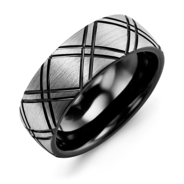 Black Tungsten Carved Wedding Band