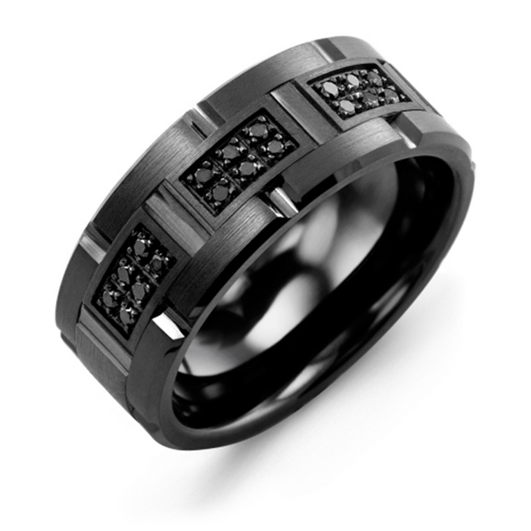 Black Diamond Grooved Wedding Band