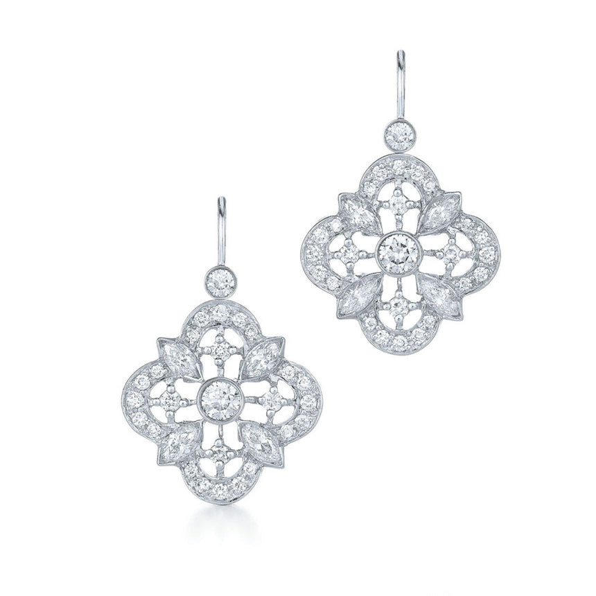 Clover Collection Drop Earrings with Diamonds