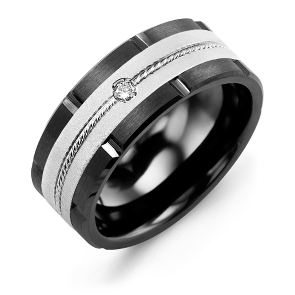 Satin Finish Rope Diamond Grooved Wedding Band