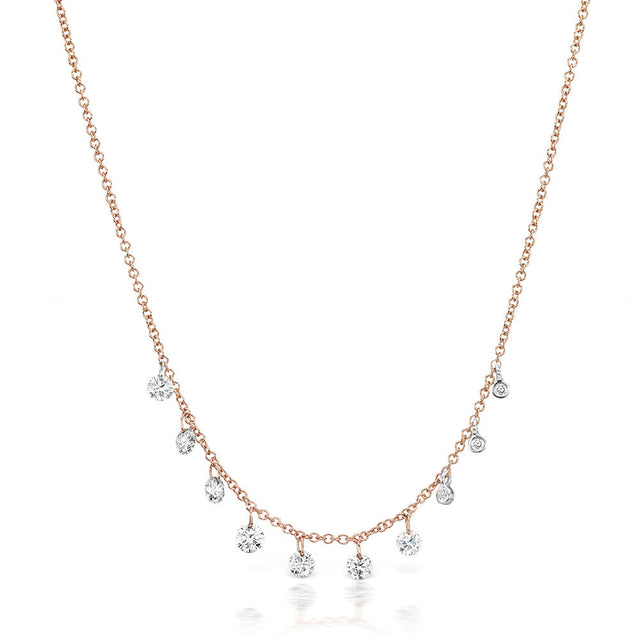 14k Rose Gold Necklace & Front Row Diamond Necklace