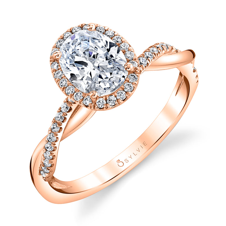 Modern Oval Engagement Ring With Halo S1724 - OV - Chalmers Jewelers