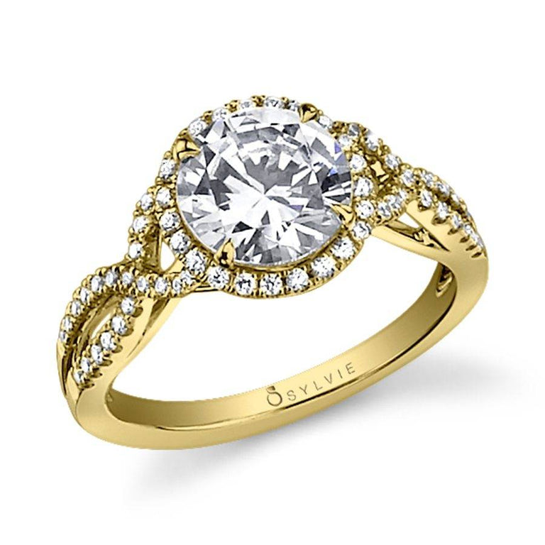 Spiral Engagement Ring With Halo SY260 - Chalmers Jewelers