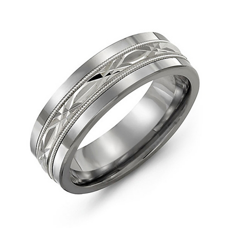 Wedding band with diamond cut inlay and milgrain edge - Chalmers Jewelers