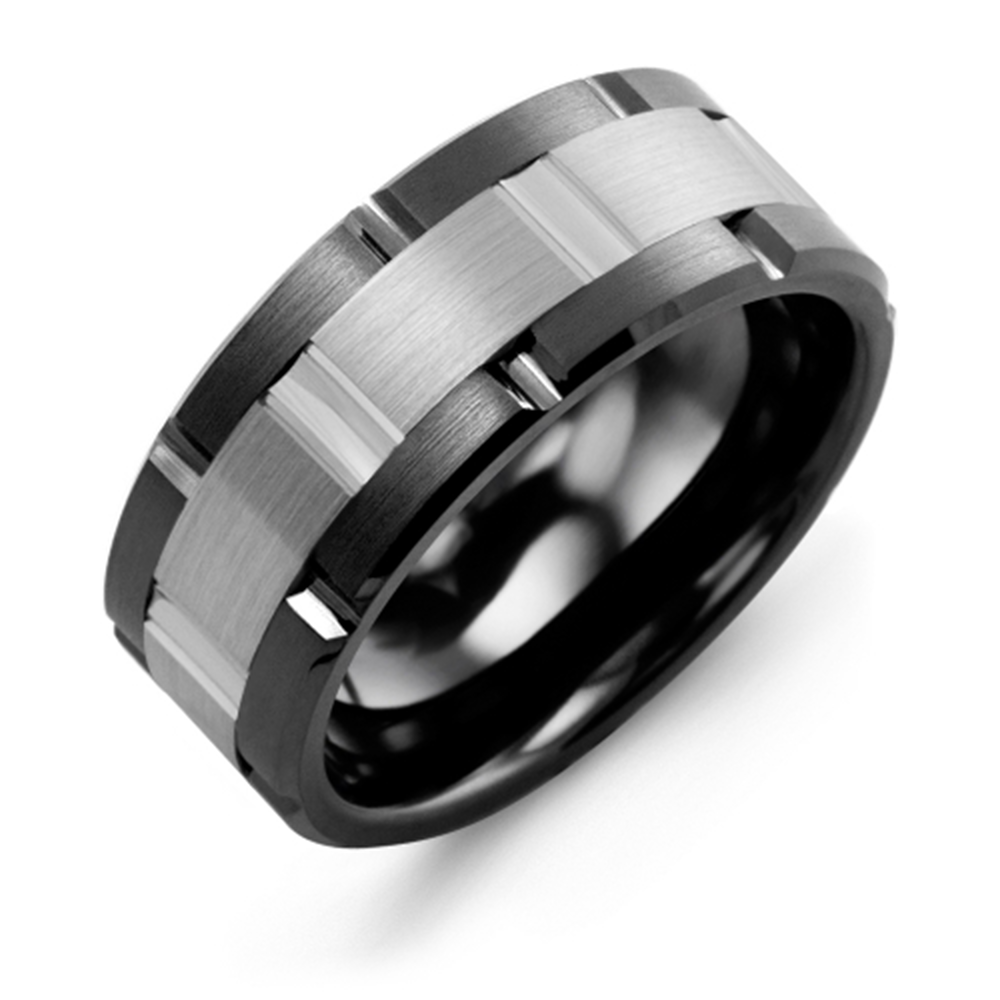 Satin Finish Grooved Wedding Band