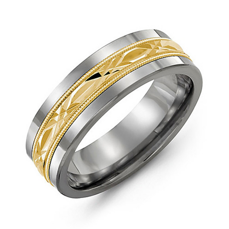 Wedding band with diamond cut inlay and milgrain edge - available metal options