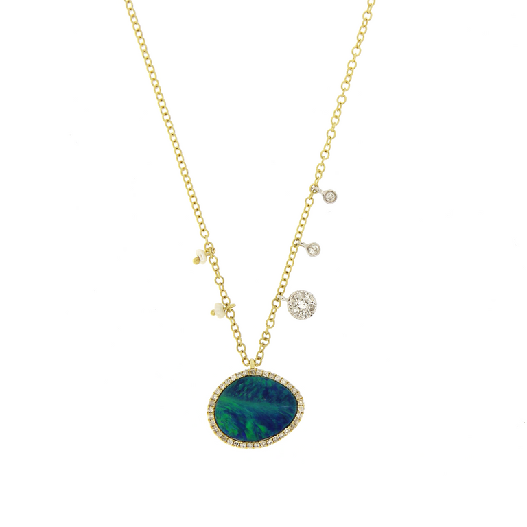 Australian opal with off-centered pearls & diamond charms on a 14k yellow gold chain