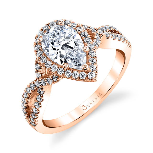 Pear Shaped Spiral Engagement Ring SY260 - Chalmers Jewelers