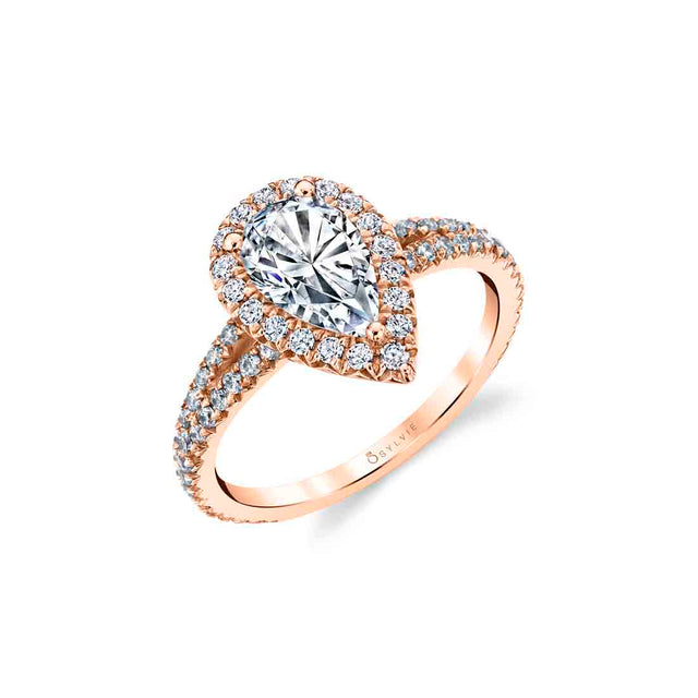 Pear Shaped Halo Engagement Ring S2493 - PS - Chalmers Jewelers