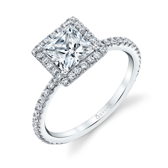 Princess Cut Halo Engagement Ring S1793 - PR - Chalmers Jewelers