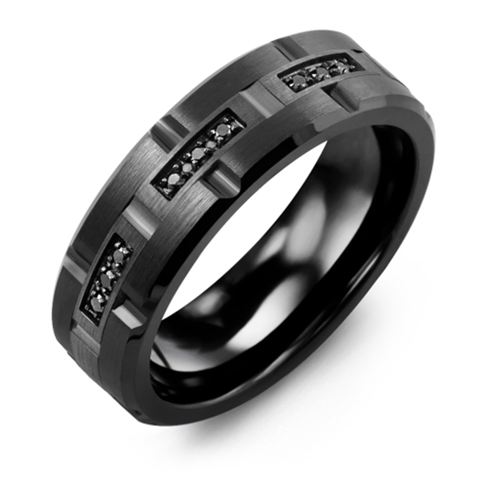 Trio Black Diamond Wedding Band