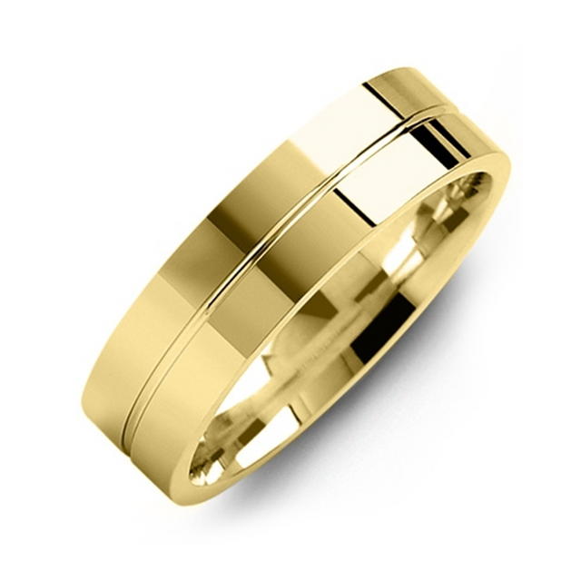 Flat Polished Gold Wedding Band
