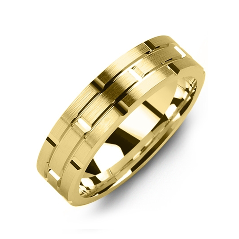 Symmetrical Carved Wedding Band