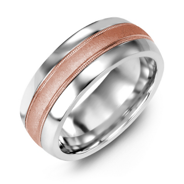 Domed wedding band with brushed metal inlay and milgrain edge - six metal options available