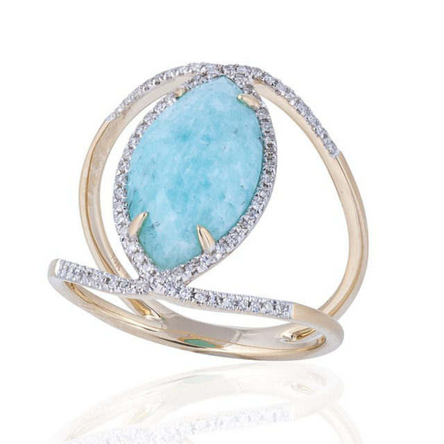 Amazonite ring comprised of 3.10ct amazonite doublet with .21ctw of diamonds