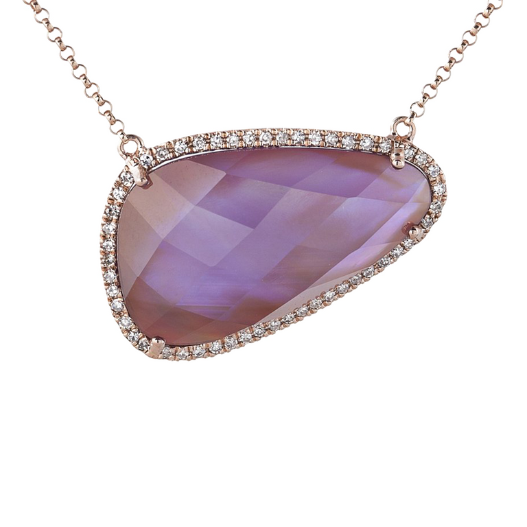 Amethyst and pink slate diamond necklace in 14kt rose gold