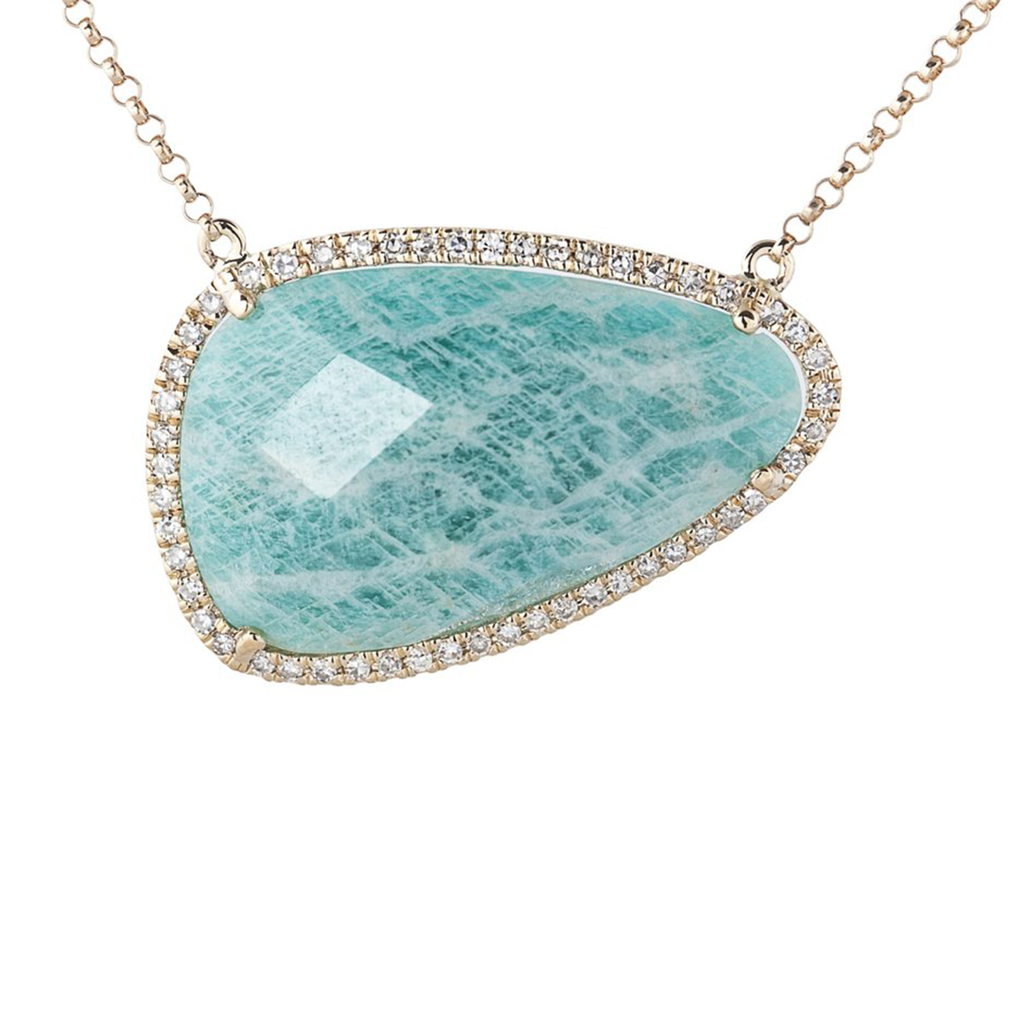 fullscreen amazonite lyst t gold view rose necklace jewelry pendant meira diamond