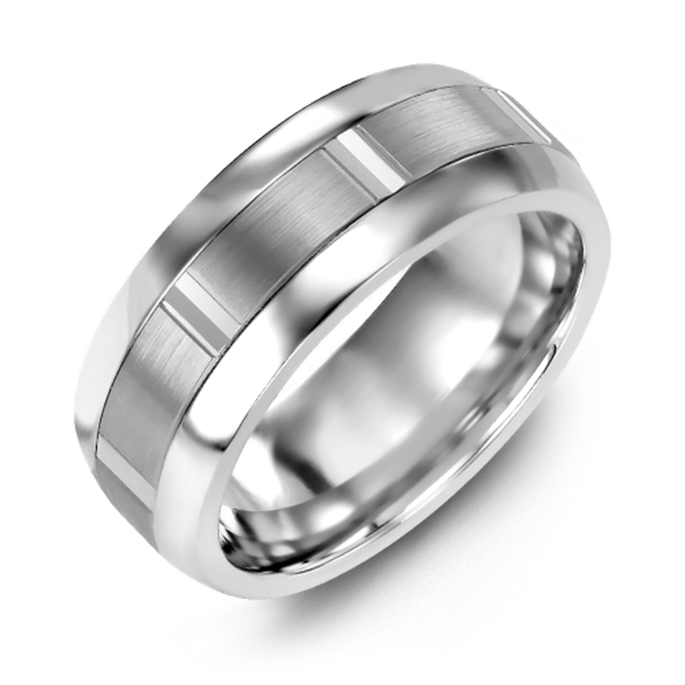 Brushed Vertical Accents Wedding Band