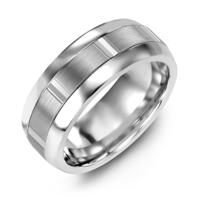 Wedding band with brushed metal inlay and vertical accents