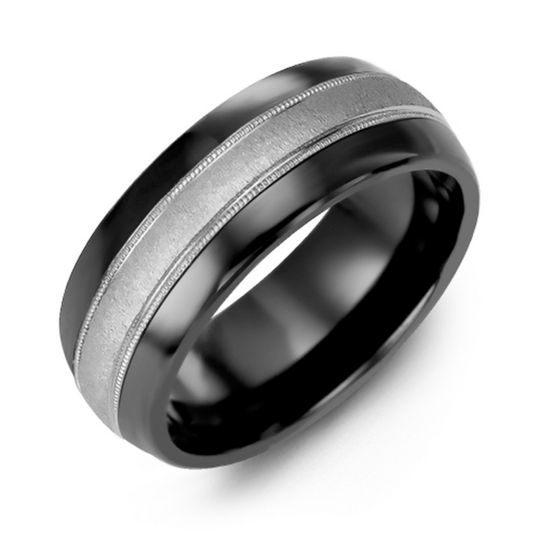 Domed wedding band with brushed metal inlay and milgrain edge - available metal options