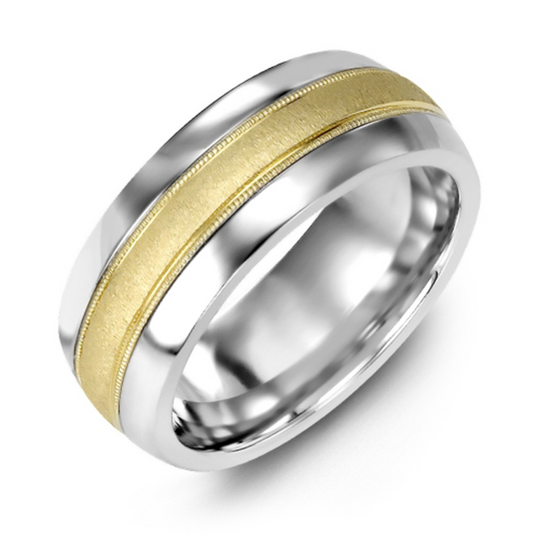 Domed wedding band with brushed metal inlay and milgrain edge