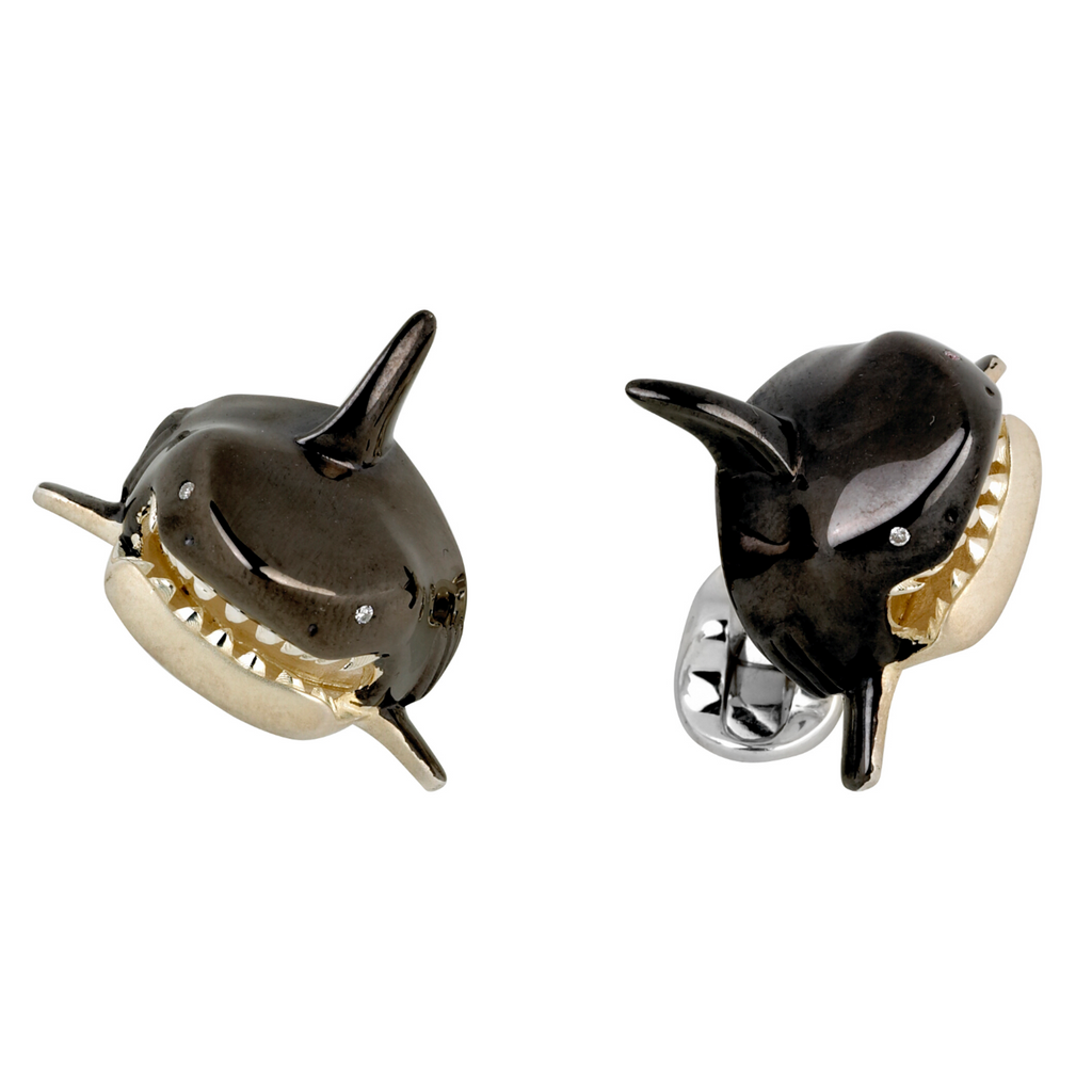 Deakin & Francis Silver Shark Head Cufflinks