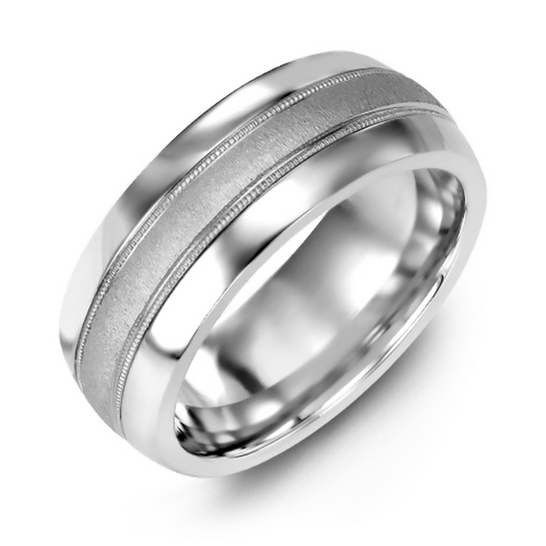 Domed wedding band with brushed metal inlay and milgrain edge - metal options available