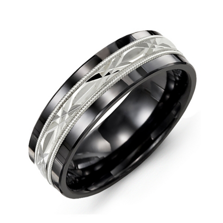 Wedding band with diamond cut inlay and milgrain edge - 6 metal options