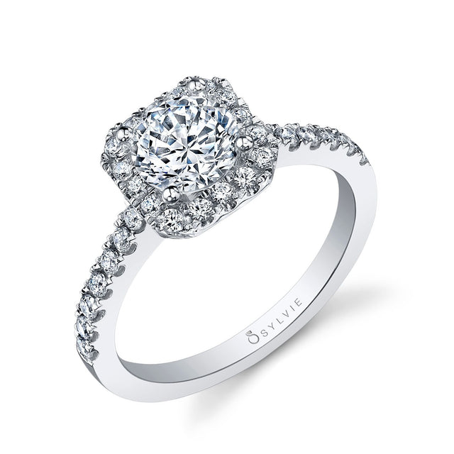 Classic Round Square Halo Engagement Ring