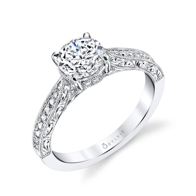 Engraved Solitaire Diamond Engagement Ring