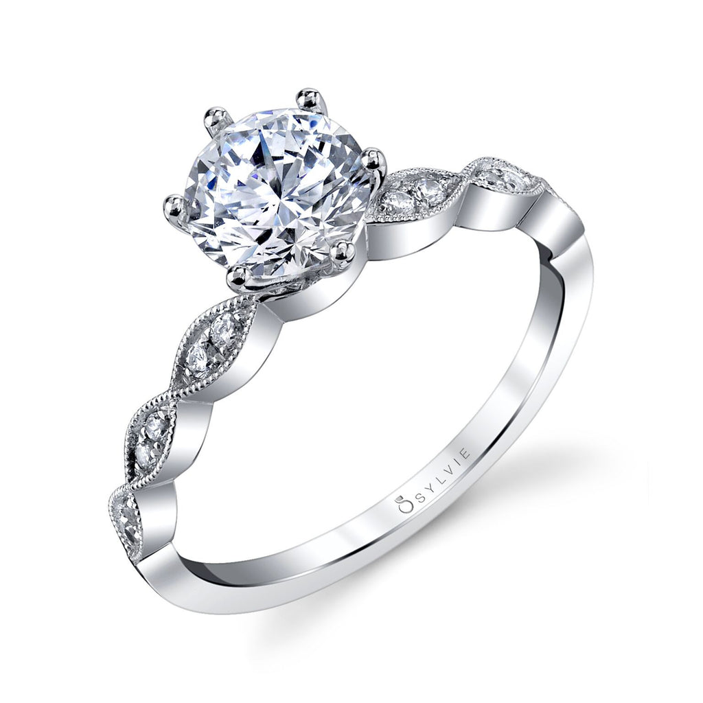 Classic Round Diamond Engagement Ring with Marquise-Shaped Milgrain Detail