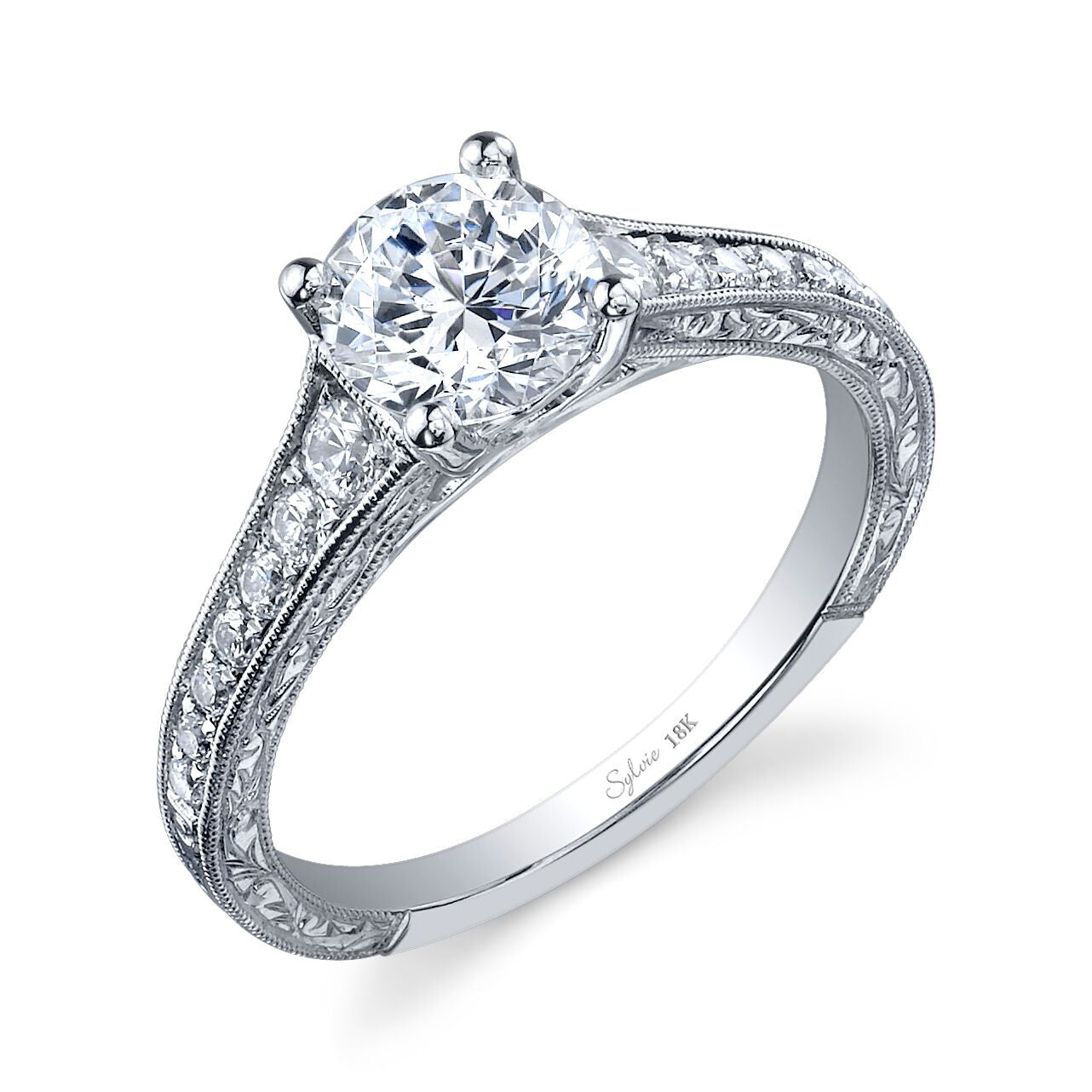 Vintage-Inspired Engraved Diamond Engagement Ring