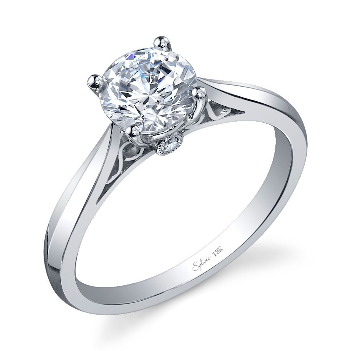 Solitaire Engagement Ring with Diamond Accent