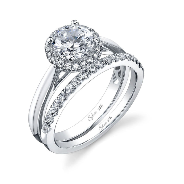 Modern Halo Round Diamond Engagement Ring