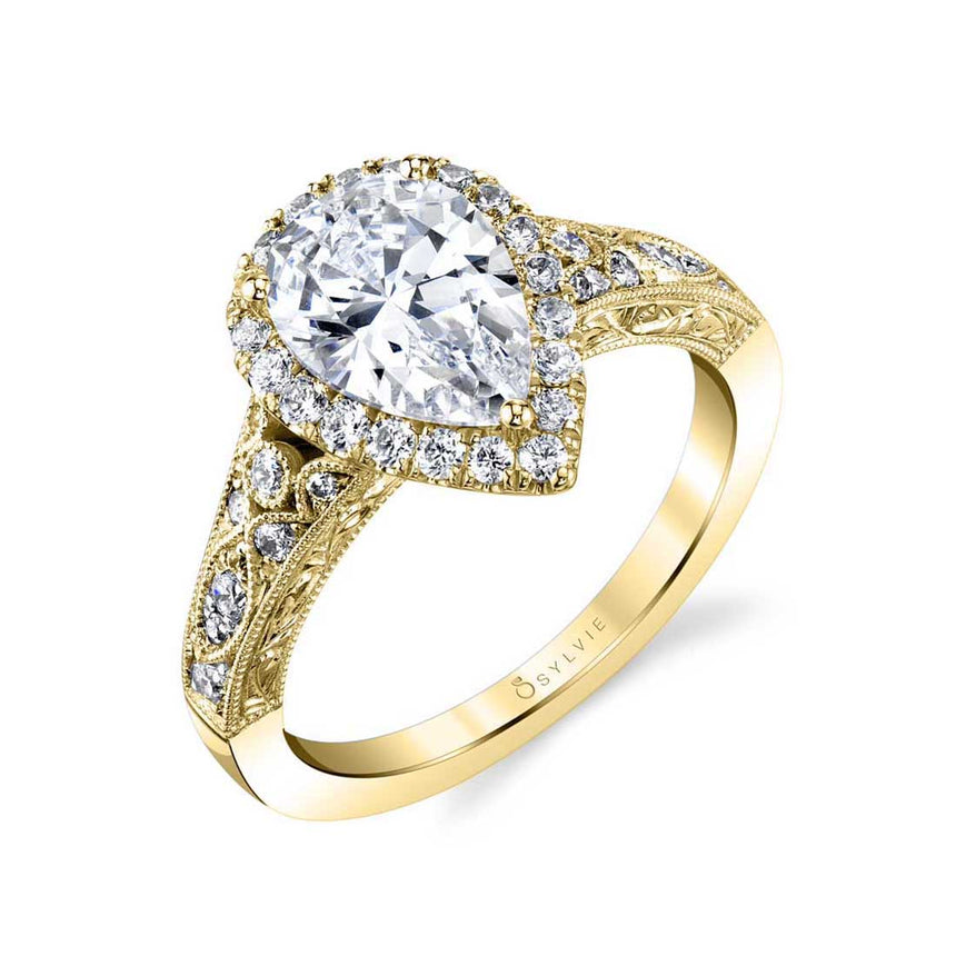 Vintage Pear Shaped Halo Engagement Ring S1909 - Chalmers Jewelers