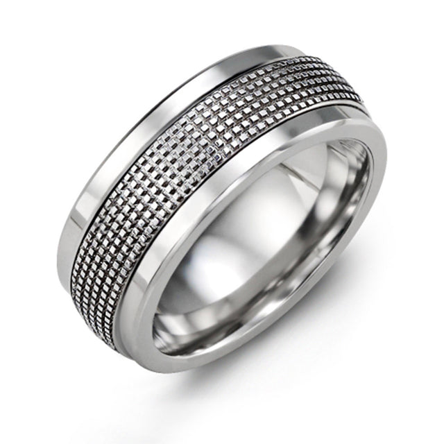 Infinity Carved and Textured Wedding Band
